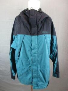 Marmot Size M Mens Black/Green Full Zip Insulated GoreTex Hooded Ski Jacket T386