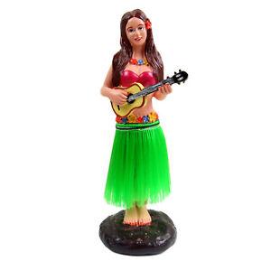 "Dashboard Hula Girl Bobblehead Figurine 6"" Grass Skirt Dancing Ukelele Hawaii"