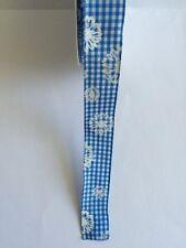 1 Meter Schleifenband Geschenkband 25mm breit blau weiß kariert Blumen Drahtkant