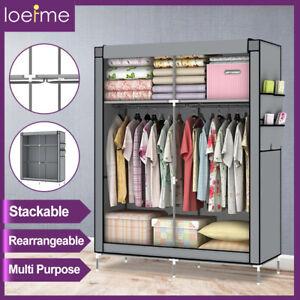 Fabric Canvas Wardrobe w/Hanging Rails Large Waterproof Clothe Storage Cupboard