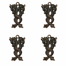10 Metal Antique Copper Dragon Charms Pendants 35mm Jewellery Making