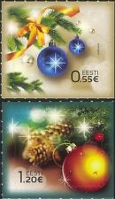 Estonia 2014 Christmas/Greetings/Baubles/Fir Cones/Ribbon 2v set s/a (ee1213)