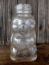 Pig Figure Clear Vintage Bottle Hazel Atlas no lid Farmhouse Used Collectible