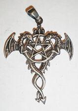 Anhänger Kette PENTAGRAMM mit Drachen Amulett ECHT Silber 925 Gothic Mystik SS77