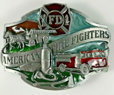American Fire Fighter Belt Buckle Colored Siskiyou Vintage 1988 Made in USA