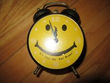 8X/VINTAGE ROBT SHAW LUX HAPPY DAY/SMILEY/HAPPY FACE TWIN BELL CLOCK/EARL BROWN!