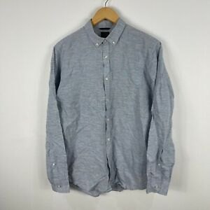 Industrie Mens Button Up Shirt Size Medium Grey Long Sleeve Collared Linen 35.29
