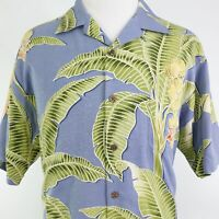 TOMMY BAHAMA SHORT SLEEVE BLUE GREEN FLORAL SILK ALOHA HAWAIIAN SHIRT MENS SZ L