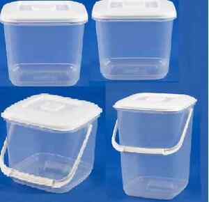 WHITEFURZE PLASTIC CANISTER FOOD STORAGE STORER WITHOUT HANDLE/WITH HANDLE
