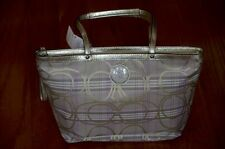 NWT Coach F17474 Signature Stripe Plaid Tartan Lavender/Gold Tote Bag Purse