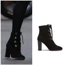 LK Bennett Marissa US 6.5 EU 37 black suede heeled lace-up ankle boots BRAND NEW