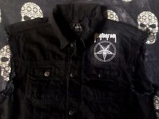 Pentagram Doom Metal Denim Cut-Off Sleeveless Battle Jacket Waistcoat Vest S-4XL