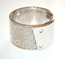 PULSERA mujer plata strass cristales brazalete rígido esclavo fiesta браслет E80