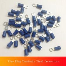 100 Wire Ring Terminals Vinyl Blue 16-14 AWG Ga Connectors #8 RV2-4S unique