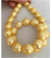 "Pretty 12-13mm South Sea Baroque Gold Pearl Necklace 18"" 2019"