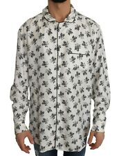 DOLCE & GABBANA Shirt White SILK Pajama Floral Print Sleepwear IT7 / XL NEW
