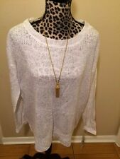 PETER NYGARD - IVORY AND SILVER SWEATER - L
