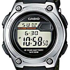 NEW Casio W211B-3A Mens Sports Watch Military Green NYLON Band Alarm Stopwatch
