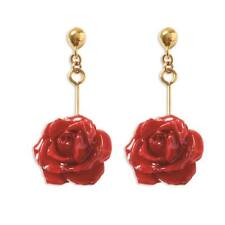 Flowers & Leaves Lacquer Dipped Red Rose Dangle Post Earrings