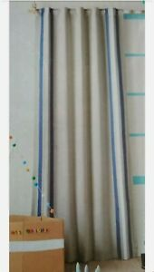 """Pillowfort Blackout Curtains Gray Yarn Dyed Striped Blue Play Room 84"""" X 42"""" NEW"""