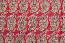 Pottery Barn Full Queen Cotton Linen Red Paisley Duvet Cover Euro Shams Set