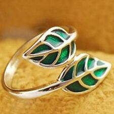 Silver & Green Double Leaf Detailed Ring Korean Style Leaves USA SELLER