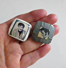 Elvis Presley Earrings Studs Hand Made Large Square 28 mm. Unique!
