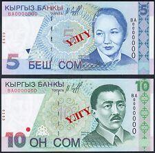 Kyrgyzstan 5, 10 SOM 1997  Specimen series BA Pick 13s, 14s
