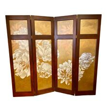 Vintage Hand Painted Gold and White Four Panel Screen Room Divider Painting