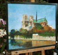 """tableau huile sur toile -- signée HUSSON  """" Paris - Notre Dame """" """""""