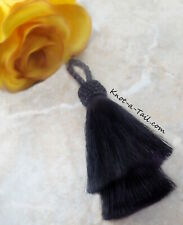 All Black, Horsehair tassel, Double layer, horsehair tassel, 4 inch, X-thick