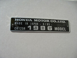 HONDA CR125R 1986 MODEL date 8/85 TAG FRAME VIN ALU PLATE not decal