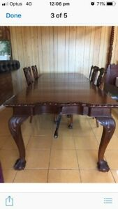 Lovely Antique Dining Table Chair Set Chippendale Wood
