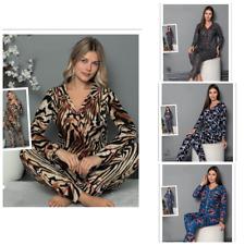 Damen Pyjama Schlafanzug Lang Warm Baumwolle mit Knöpfen 2 Teiler Winter S-69