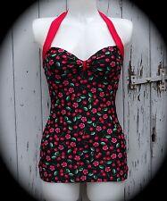Black Cherry & Blossom Pin Up Girl Retro Swimming Costume  10 12 14 16 Swimsuit