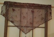 JC Penney Home Harmon Sheer Rod-Pocket Valance Brown with Flowers (2) Pair