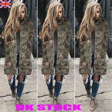 UK WOMENS CAMOUFLAGE JACKET HOODED WINTER TOP PARKA FASHION LONG COAT OUTWEAR
