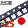 25x LED SMD3528 ROJO 20mA brillo smd 3528 red