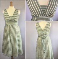 George Ladies Green Stripe 50s Retro Skater Summer Dress UK Size 16/18 Wedding