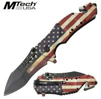"9"" MTECH USA AMERICAN FLAG STARS & STRIPES OPEN ASSISTED FOLDING POCKET KNIFE"