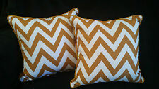 Cotton Cushion Covers Mustard White Stripes Hand Made Zig Zag(pair) 40cm