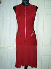 Versace Deep Red Sexy Zip Cocktail Dress, Italian size 10 (42)