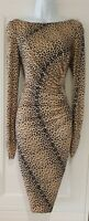 Womens Lk Bennett Gold Black Animal Leopard Ruched Pure Silk Bodycon Dress 12