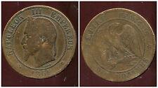 FRANCE  FRANCIA  10 centimes NAPOLEON III   1861 A  ( 3 )
