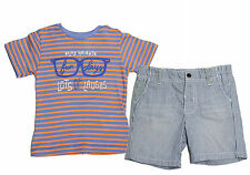 823ba5071 NWT Mayoral Baby Boy Fun Days Graphic TEE and Denim Striped Short Set ~  Size 12M