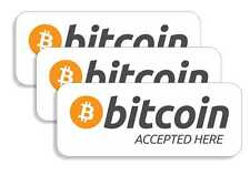3x BITCOIN ACCEPTED STICKER FOR DOOR, WINDOW, COUNTER, VAN, CASH REGISTER - BTC