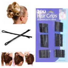 200pc Black Hair Grips Clips Bobby Kirby Pins Clamps Salon Waved Slides