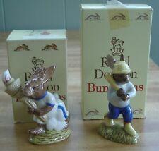 Royal Doulton Bunnykins Olympic Bunny Db 28 & Home Run Db 43 Figurines w/Boxes