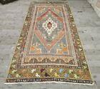 Boho Neutral Colorful Farmhouse Rug Vintage Carpet Turkish Oushak Rug 4x10 ft