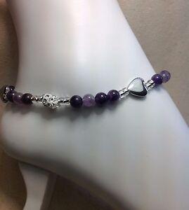 Handmade Amethyst Hematite Heart Anklet Bracelet W/Swarovski Elements USA